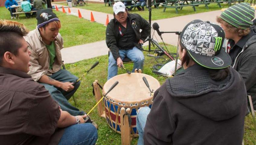 Mik'maq drummers perform at an outdoor event