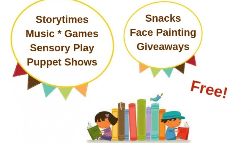 "Graphic of children and books for PEI Family Literacy Day event that reads: ""Free storytimes, music, games, sensory play, puppet shows, snacks, face painting, giveaways"""
