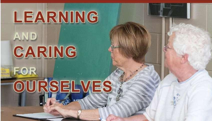 "Image of two Island seniors with text ""Learning and Caring for Ourselves"""