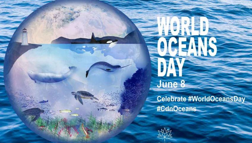 "Graphic image of the world with ocean species illustrated. Text reads ""World Oceans Day"" June 8. Celebrate #worldoceansday #CdnOceans and Canada 150 logo"