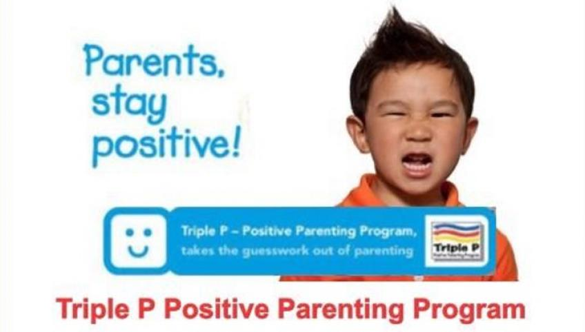 Image of male child with angry face with text as follows: Parents stay positive! Triple P Positive Parenting Program