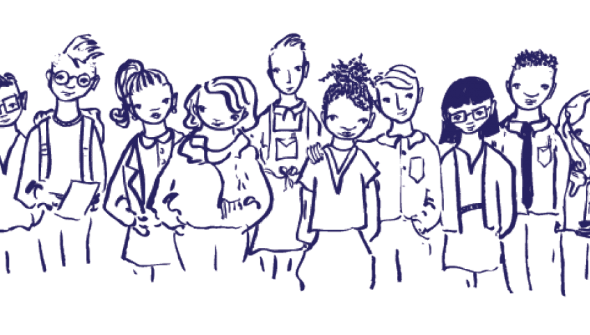 Line drawing of group of young persons