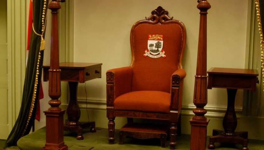 Image of Speaker's chair in the Legislative Assembly of Prince Edward Island