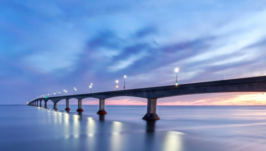 An image of the Confederation Bridge at dusk