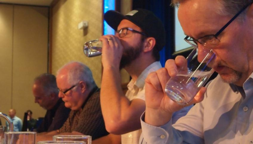 Judges at water tasting