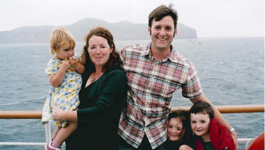 Moira McGuire with her family on the ferry to the Isles de la Magdalene.