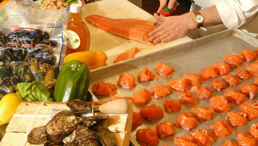 Photo shows seafood being prepared