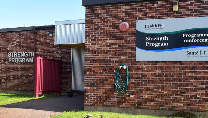 Photo shows the exterior of the Strength Program building