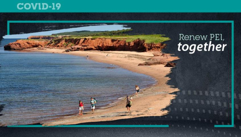 "Graphic image of people on PEI beach with text ""Renew PEI Together"""