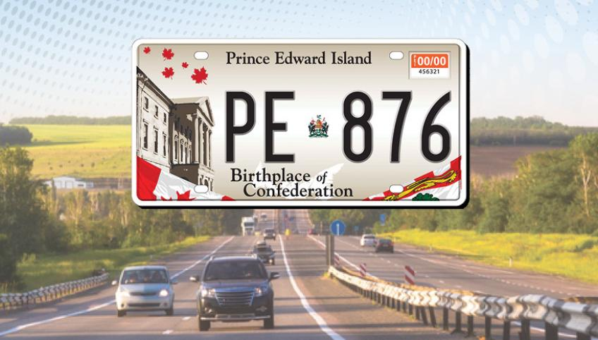 """Graphic image of PEI licence plate and blue car with text """"Prince Edward Island Motor Vehicle Registration"""""""