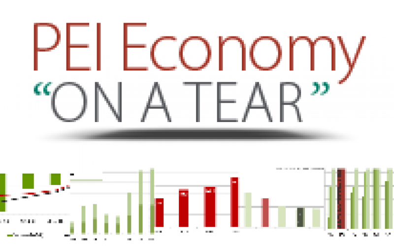 "Web graphic with text ""PEI Economy on a Tear"""