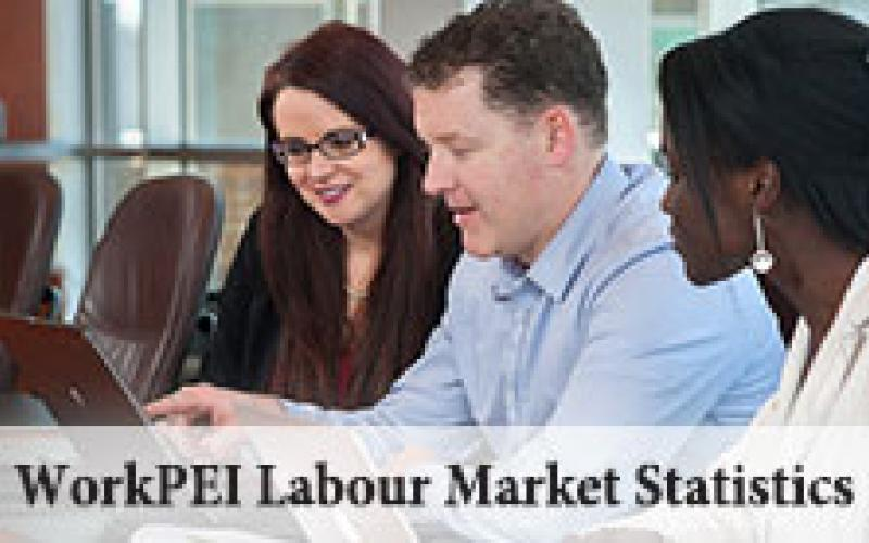 """Image of three professionals looking at laptop with text """"WorkPEI Labour Market Statistics"""""""