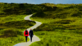 Air brushed image of two individuals walking in the national park