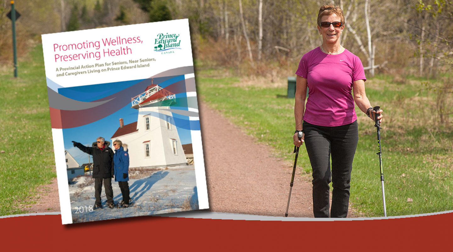 image of woman walking the Confederation Trail with the cover of the Seniors Health and Wellness action plan overlaid