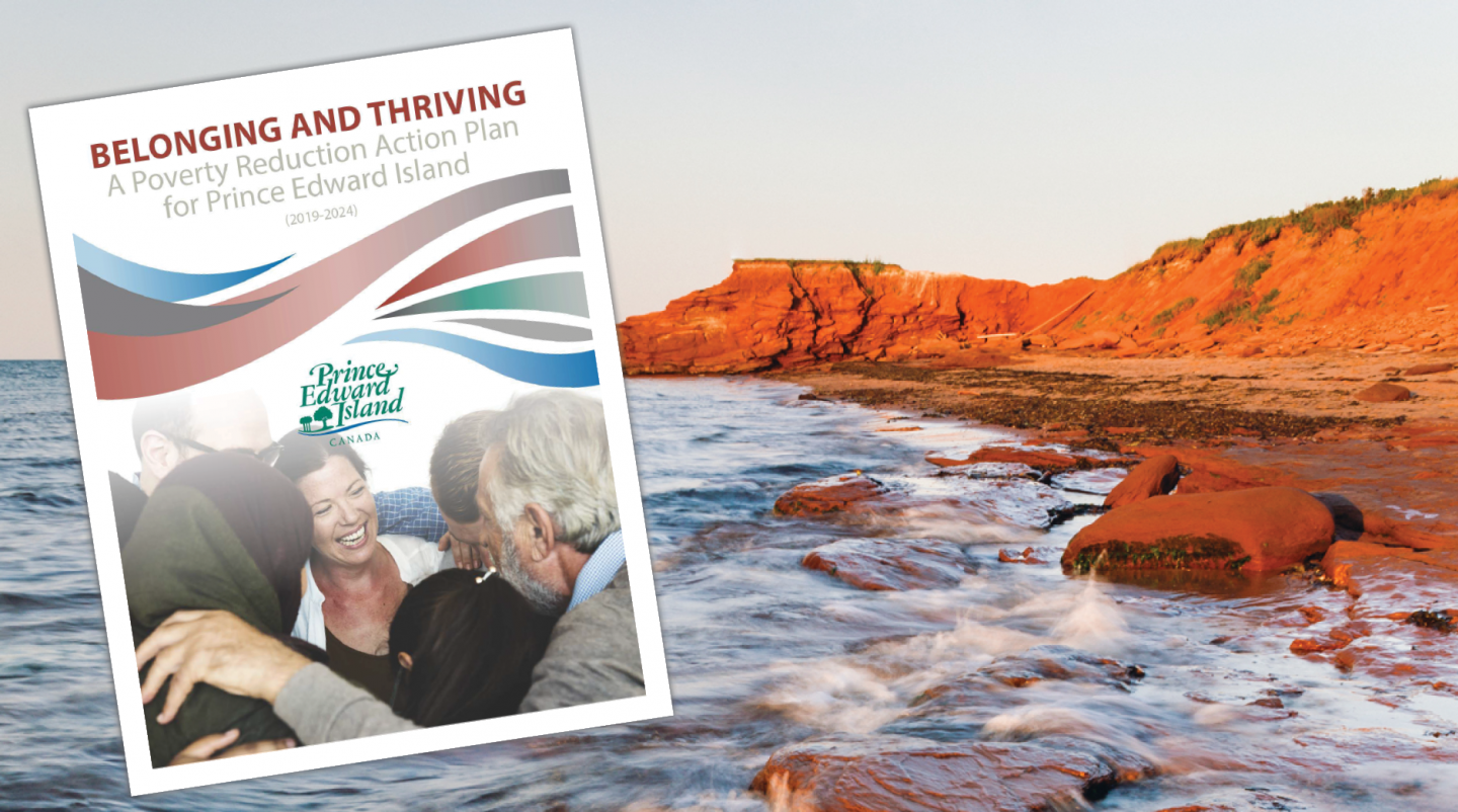 Thumbnail of cover of Poverty Reduction Action Plan with image of red cliffs of PEI in background