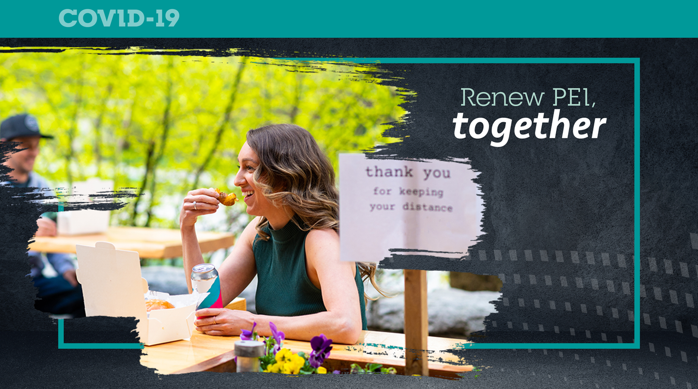 "Graphic with image of person dining with text ""Renew PEI Together"""