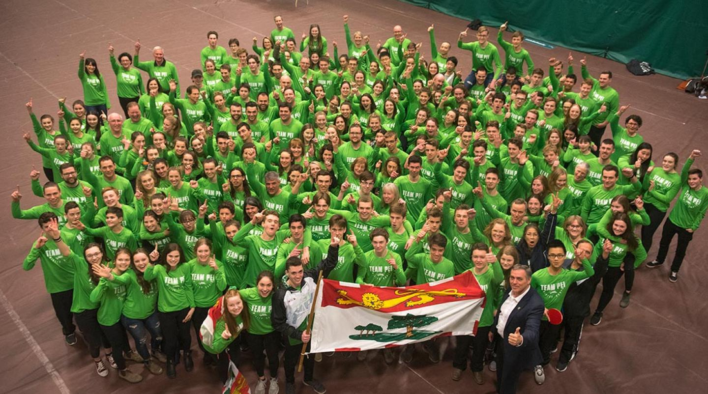 Team PEI at the Canada Games rally