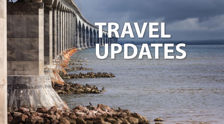 "Image of Confederation Bridge with text ""Travel Updates"""