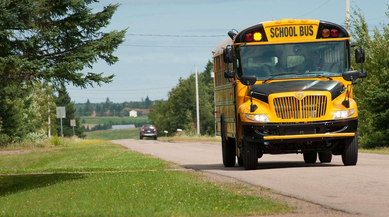 PEI school bus drives down PEI road