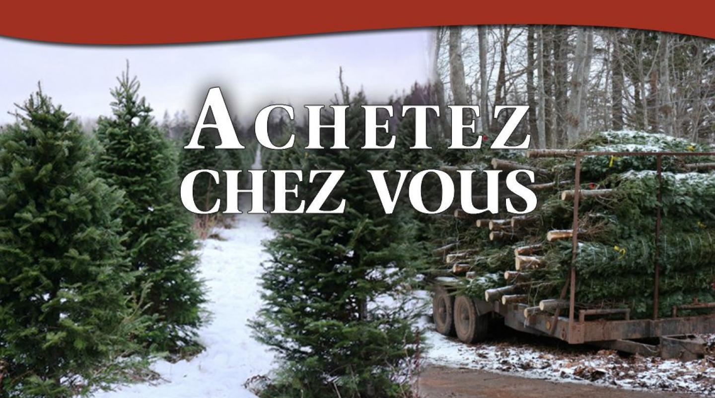 """d'arbres de Noël avec """"Achetez chez vous"""""""