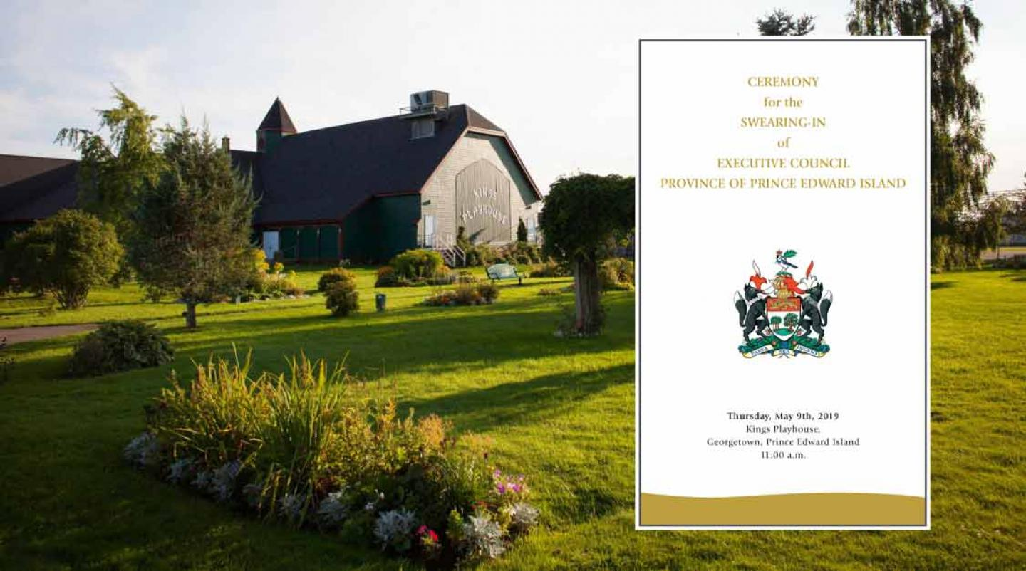 Image of Kings PLayhouse in Georgetown with thumbnail of program for Swearing In Ceremony of Executive Council