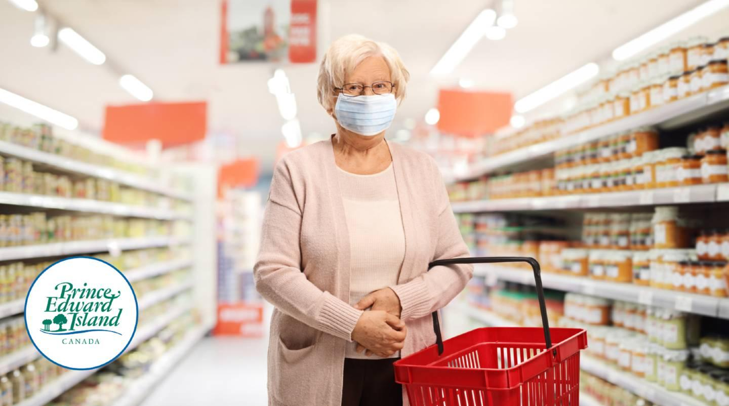person in a grocery store wearing  a mask