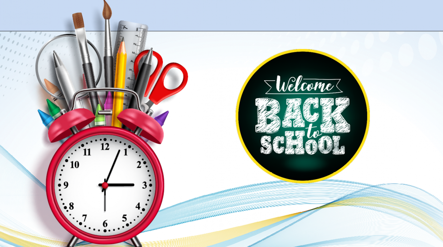 "Graphic image of clock and school supplies that reads: ""Welcome back to school"""