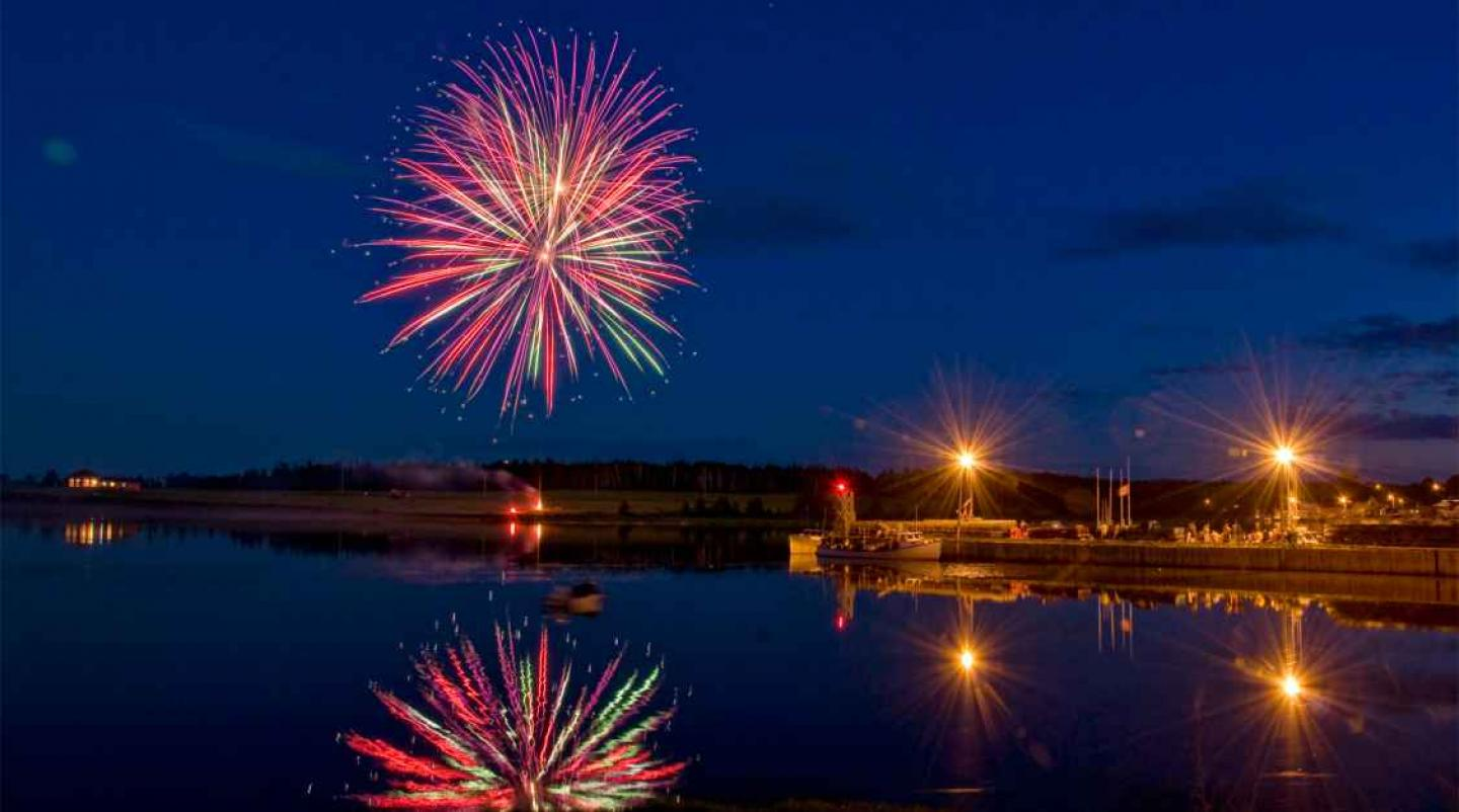 Fireworks over Rustico Harbour on Canada Day