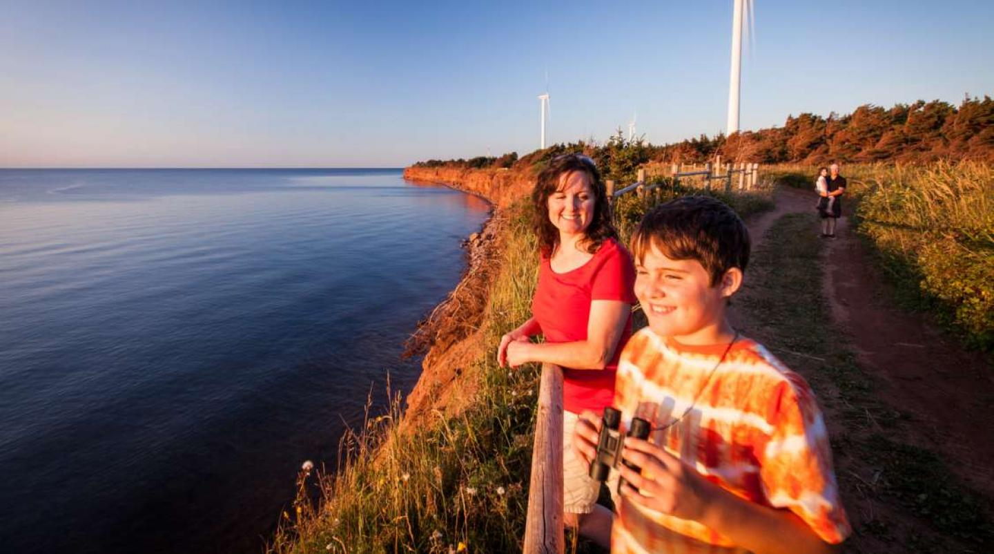 Adult female and male child look out over coast of western PEI. Two other people are in background. Wind turbines also in background