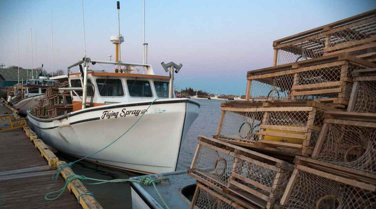 Lobster boats tied at the wharf in North Rustico before setting day.