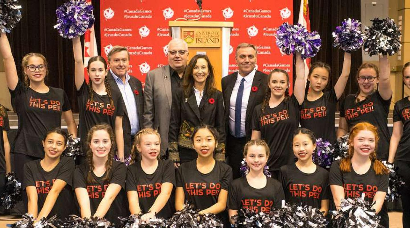 Officials and cheerleading squad at the announcement of Canada Games coming to PEI