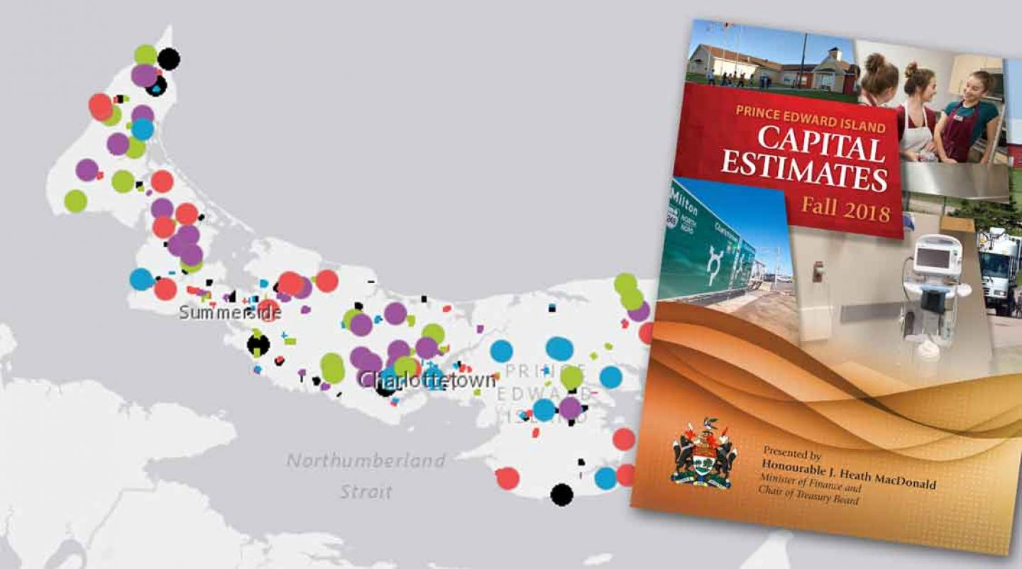 Thumbnail of Capital Estimates Fall 2018 cover with image of PEI map in background