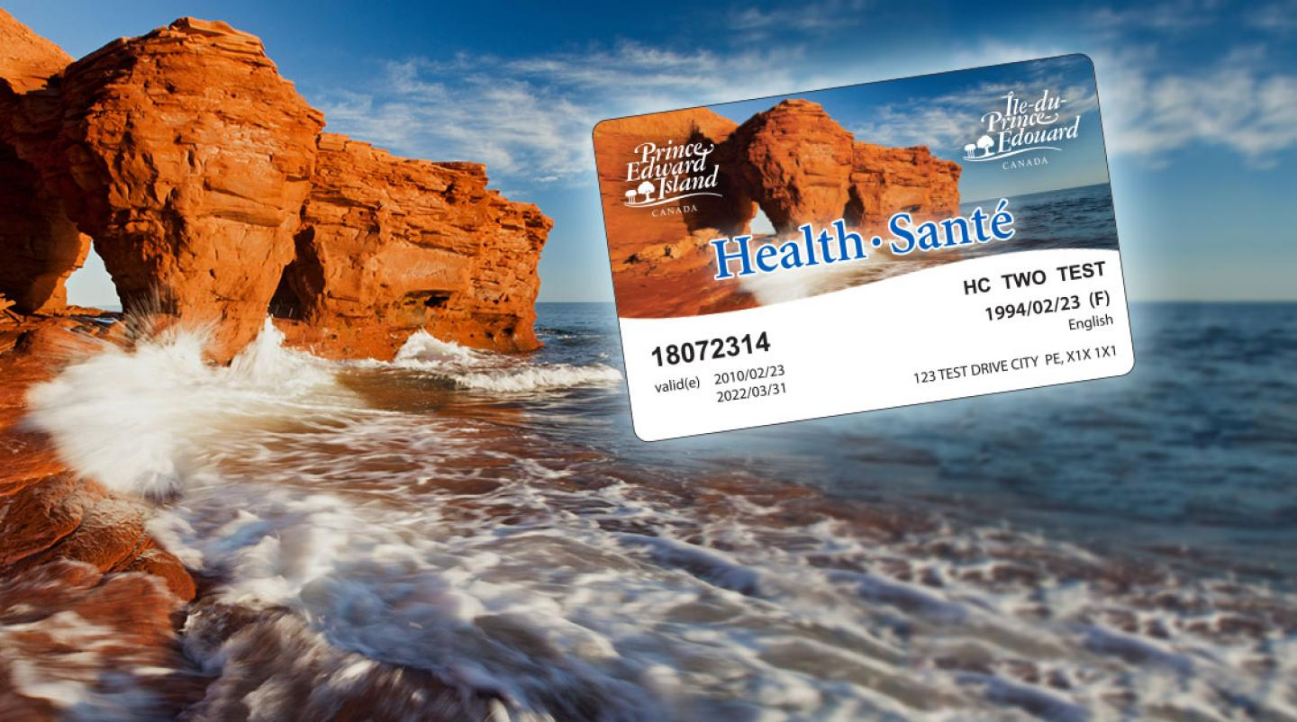 Image of new PEI Health Card with Thunder Cove beauty shot in background