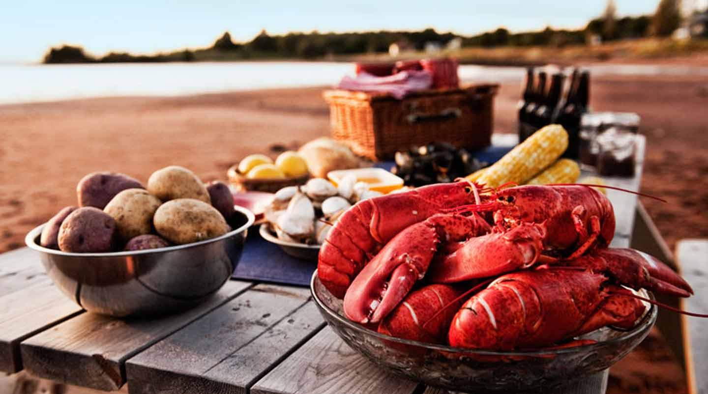 Lobster, potatoes and other local product