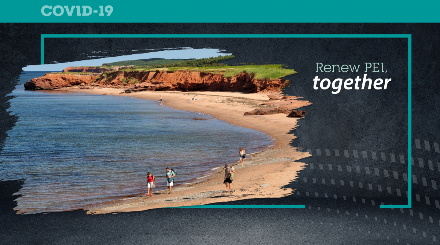 "Graphic image of PEI beach with text ""Renew PEI Together"""