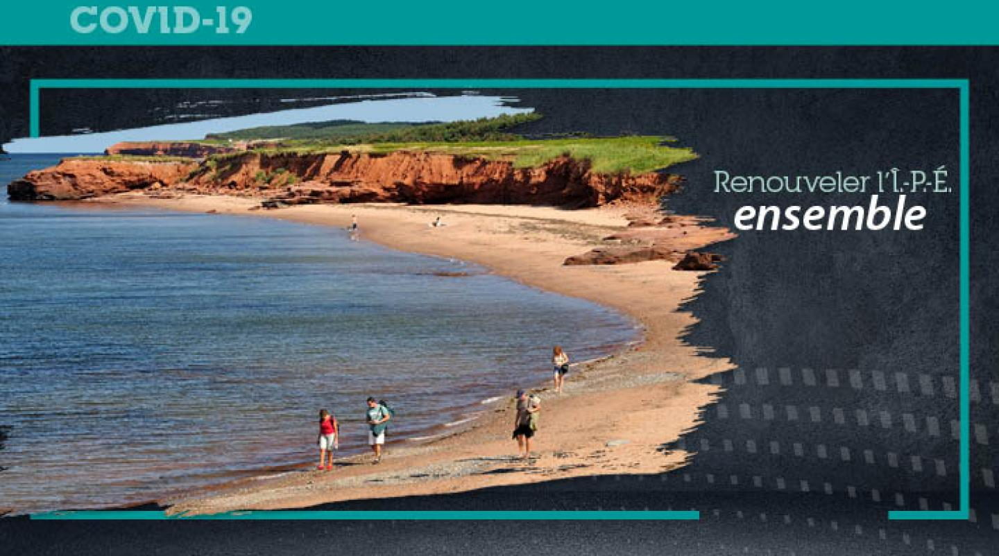 "Graphic with image of PEI beach with text: ""Renew PEI Together"""