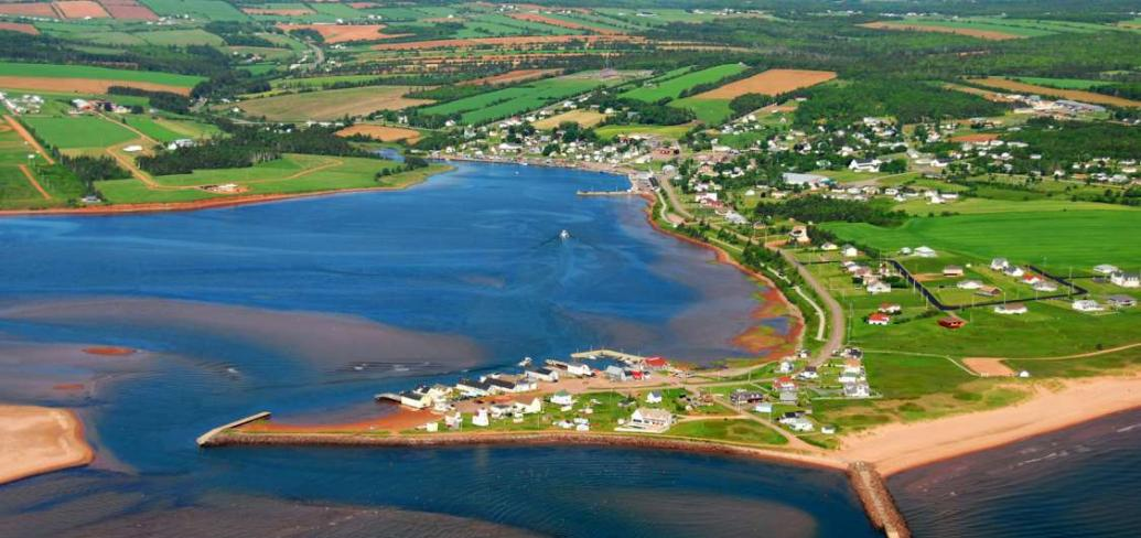 Aerial view of North Rustico in summer