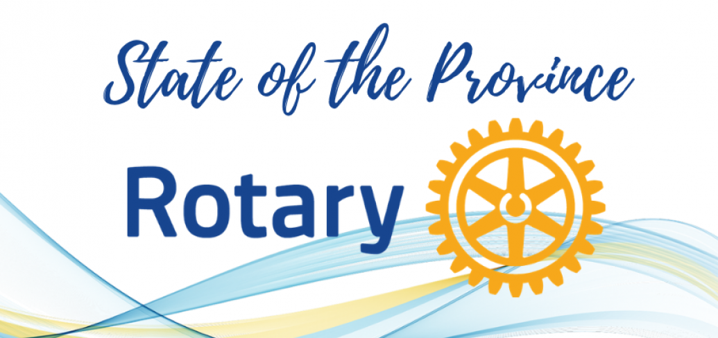 """Rotary Club logo with text """"State of the Province Address"""""""