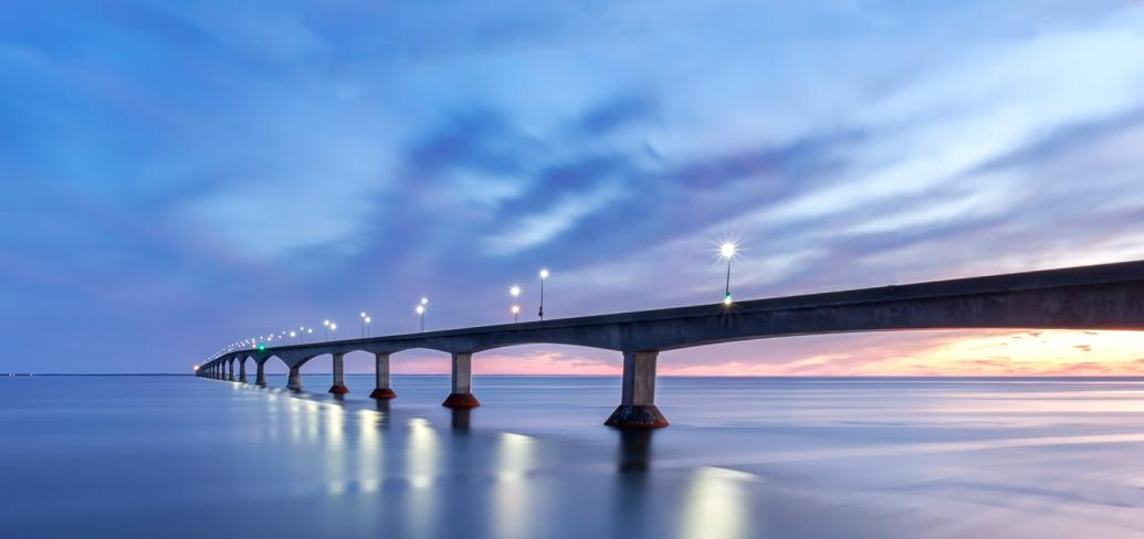 An image of the Confederation Bridge at dusk
