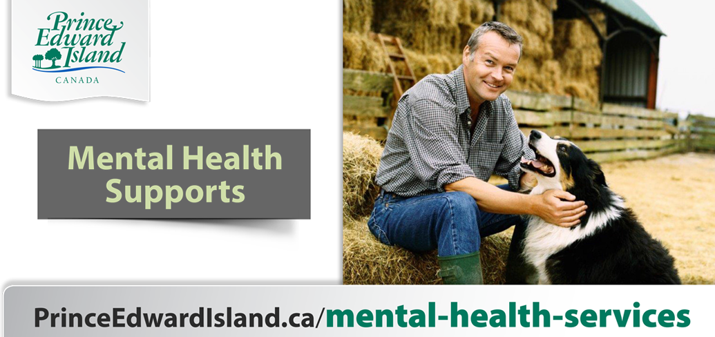 A man is sitting, smiling and petting a dog. The words on the image are Mental Health Supports , and the web link princeedwardisland.ca/mental-health-services
