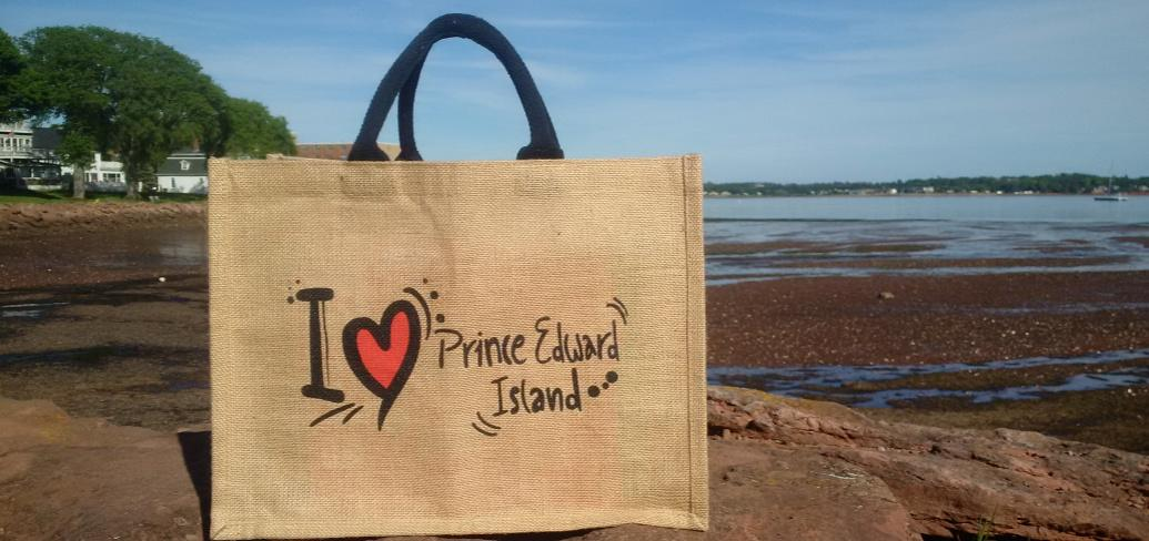 Reusable bag on rocks near waterfront