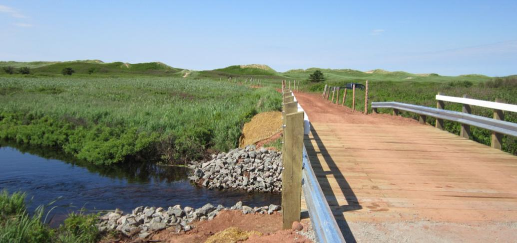 New Blooming Point bridge, with the sand dunes in the background