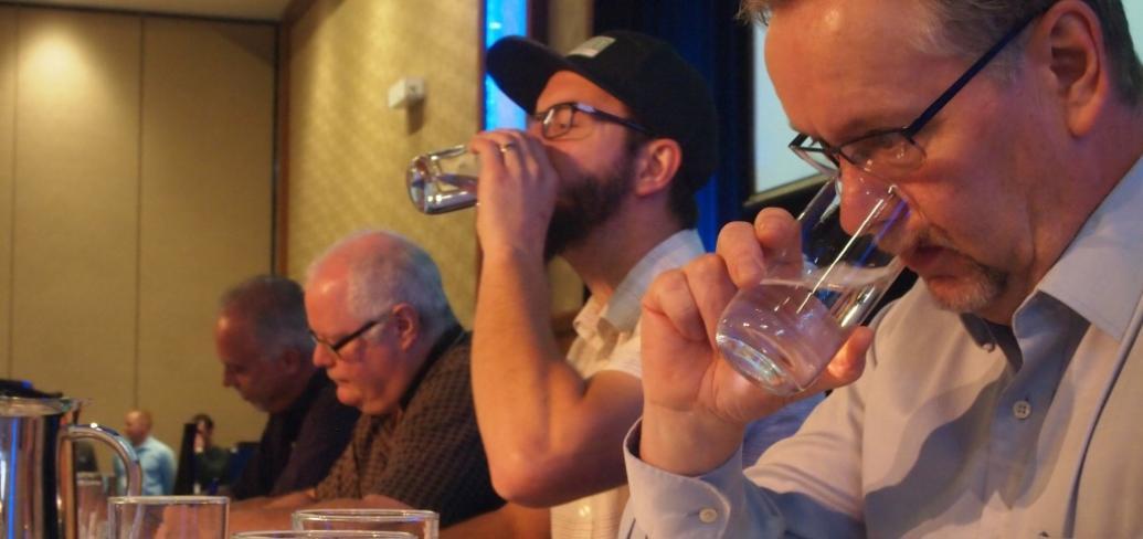 Judges at water tasting