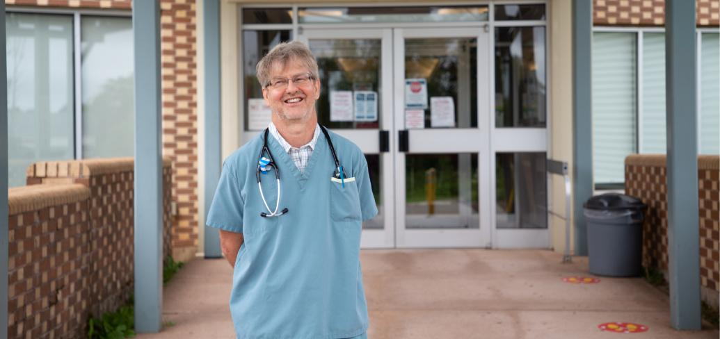 Dr. Roberto Campanaro standing outside the front entrance to Western Hospital