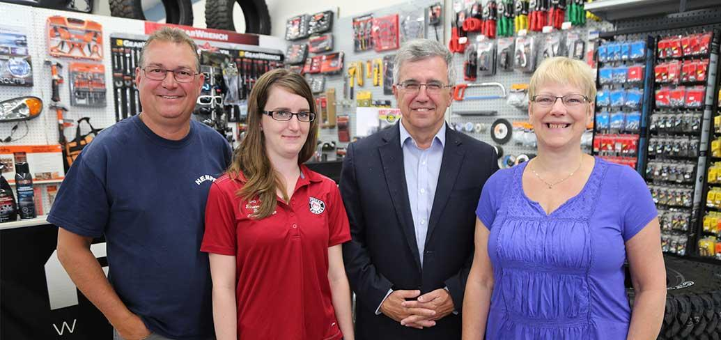 Thane Thomson, owner of Eastern Auto Supply; Melanie Worth, new employee hired through Employ PEI; Minister Richard Brown, Workforce and Advanced Learning; and Bernice Thomson, owner of Eastern Auto Supply met recently at the shop on St. Peters Road in Ch