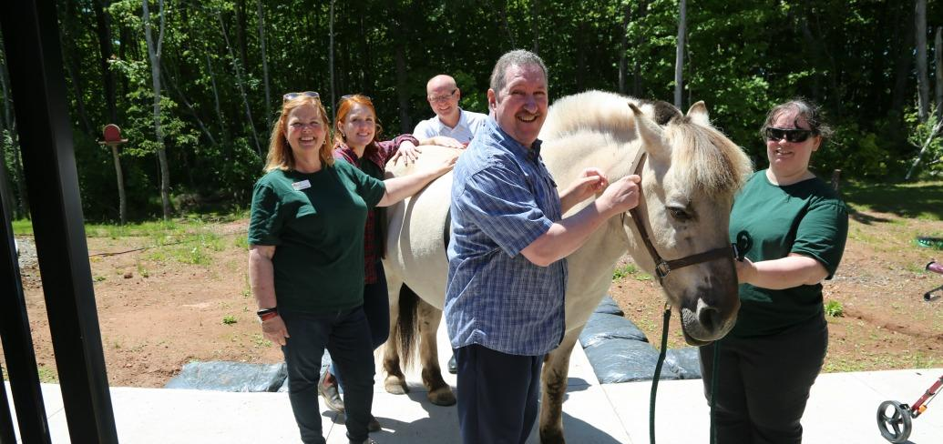 Billy the horse stands outside on a spring day with five people petting him