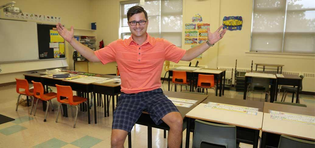 Jonathan MacDonald welcomed students to his Central Queens Elementary class this week
