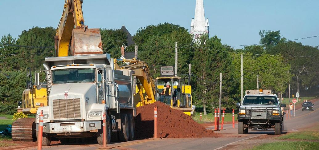 Construction on 800 metres of new sewer mains and 750 metres of storm main in Kinkora