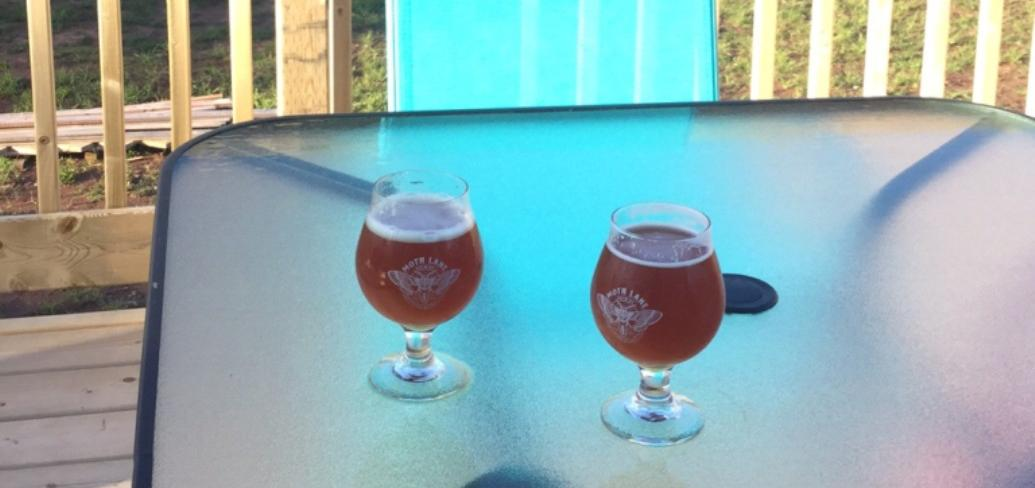 Beer glasses on patio table