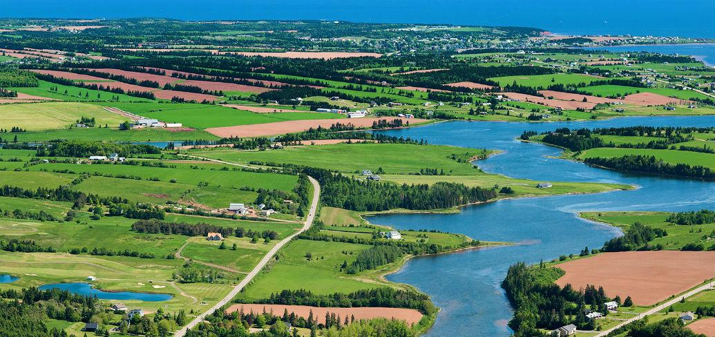 Aerial view of New Glasgow, PEI